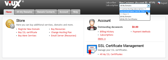 Select SmarterMail Subscription