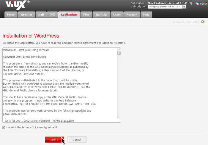 Install WordPress (License Agreement)